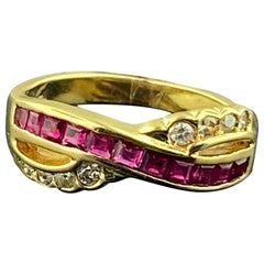 14 KT Yellow Gold Ruby and Diamond Ring