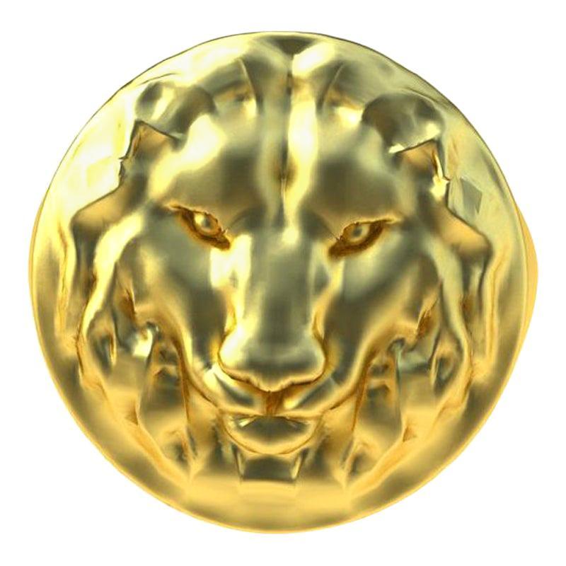 14 Karat Yellow Gold Lion Head Signet Ring