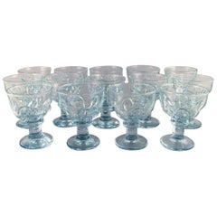 14 Large French Designer Glasses in Mouth Blown Art Glass, Mid-20th Century