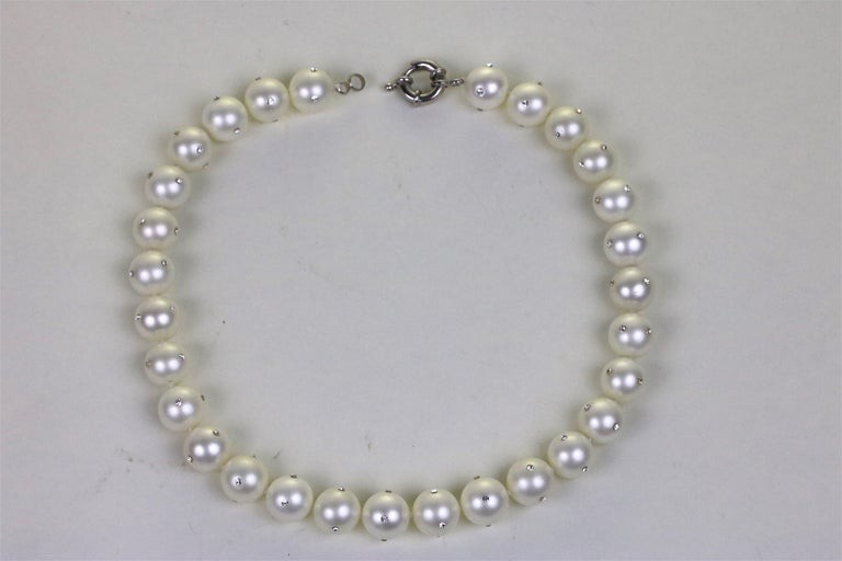 14 mm 29 Faux Pearl Collar Necklace and Earrings Set- inlay CZ Diamonds In Excellent Condition For Sale In West Palm Beach, FL