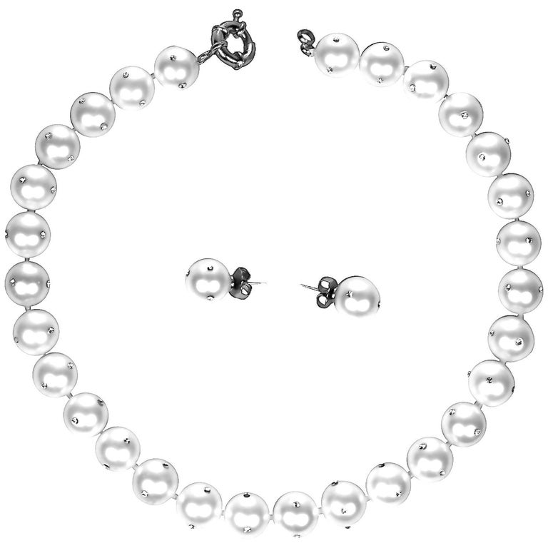 14 mm 29 Faux Pearl Collar Necklace and Earrings Set- inlay CZ Diamonds For Sale