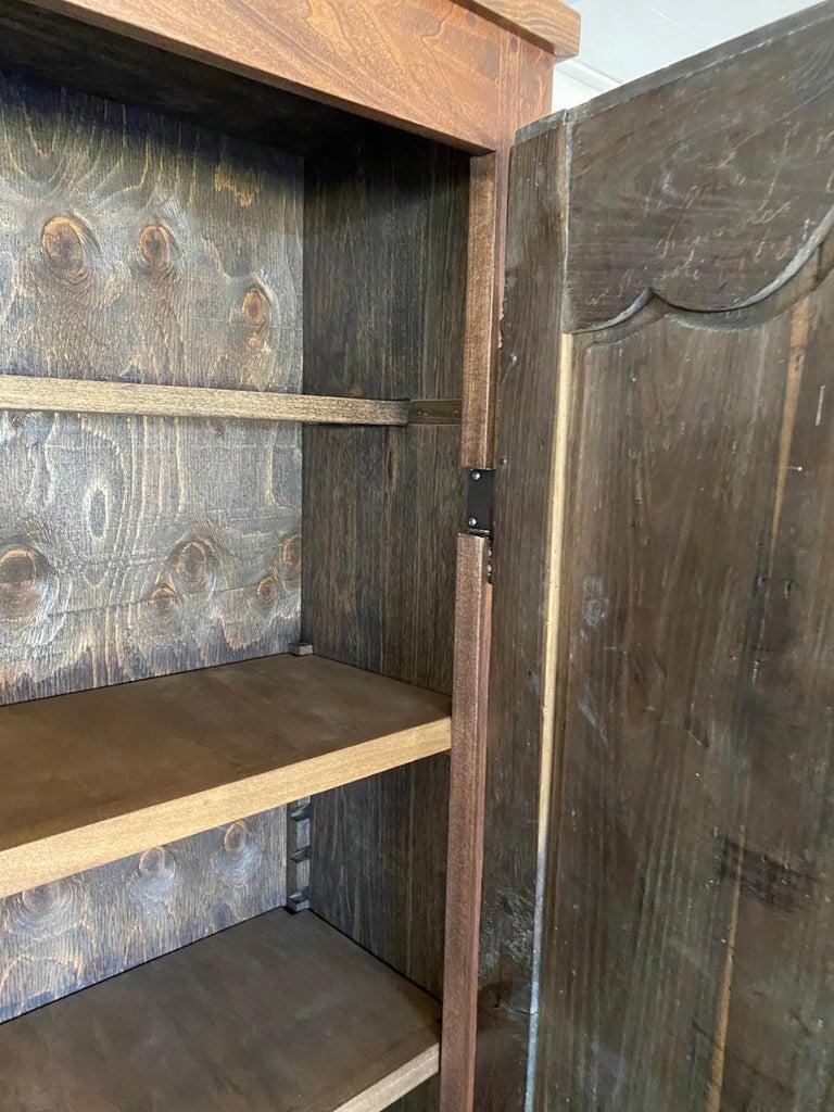 Oak Narrow Depth Louis XV Style Armoire Storage Cupboard For Sale