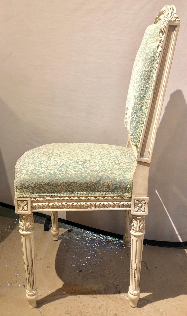 14 Paint Decorated Louis XVI Style Side / Dining Chairs, Finely Carved For Sale 5