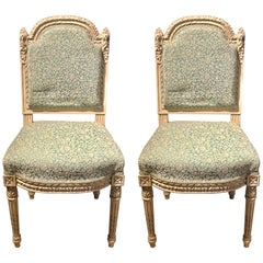 14 Paint Decorated Louis XVI Style Side / Dining Chairs, Finely Carved