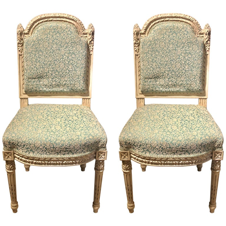 14 Paint Decorated Louis XVI Style Side / Dining Chairs, Finely Carved For Sale