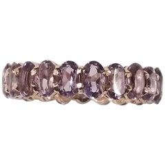 14 Rose Gold Amethyst Oval Cut Eternity Ring