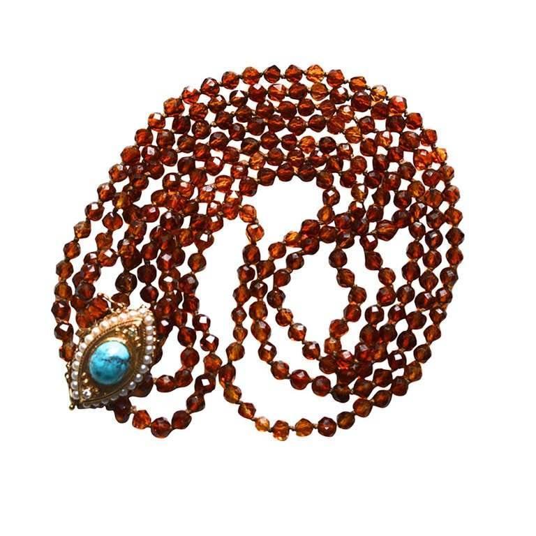 14 Karat Turquoise and Diamond Evil Eye Necklace