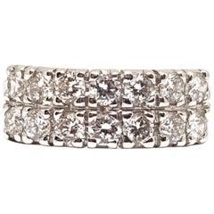 1.40 Carat 18 Karat White Gold Diamond Memory Ring