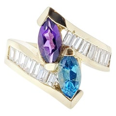 1.40 Carat Amethyst and Topaz and Diamond Cocktail Ring in 14 Karat Yellow Gold