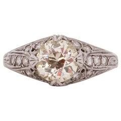 1.40 Carat Art Deco Diamond Platinum Engagement Ring