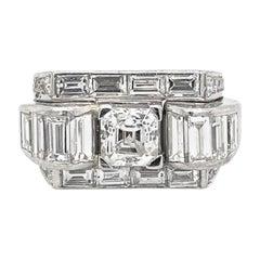 1.40 Carat Asscher-Cut Diamond Platinum Art Déco Tank Ring