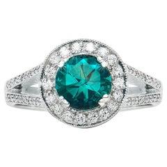 1.40 Carat Blue Tourmaline Round Diamond Cluster Ring Natalie Barney