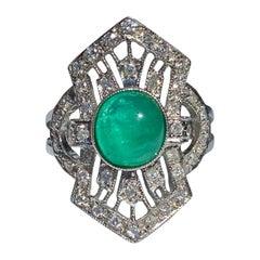 1.40 Carat Cabochon Cut Colombian Emerald, Diamond and 14 Karat White Gold Ring