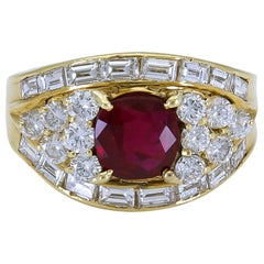 1.40 Carat Cushion Cut Ruby and Diamond Engagement Ring
