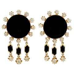 1.40 Carat Diamond and Onyx Yellow Gold Drop Earrings