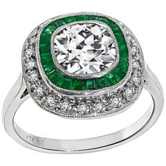 1.40 Carat Diamond Emerald Target Ring