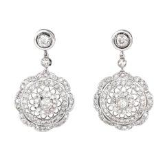 1.40 Carat Diamond Filigree Drop Earrings Vintage 18 Karat Gold Estate Jewelry