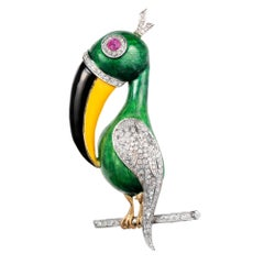 1.40 Carat Diamond Ruby Enamel Two-Tone Gold Toucan Brooch