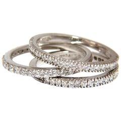1.40 Carat Diamond Stacking Rings Three 14 Karat