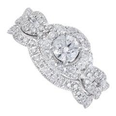 1.40 Carat Diamond White Gold Engagement Ring Wedding Band