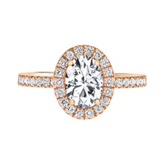 1.40 Carat EGL Certified Oval Shaped Diamond Halo Ring in 14 Karat Rose Gold