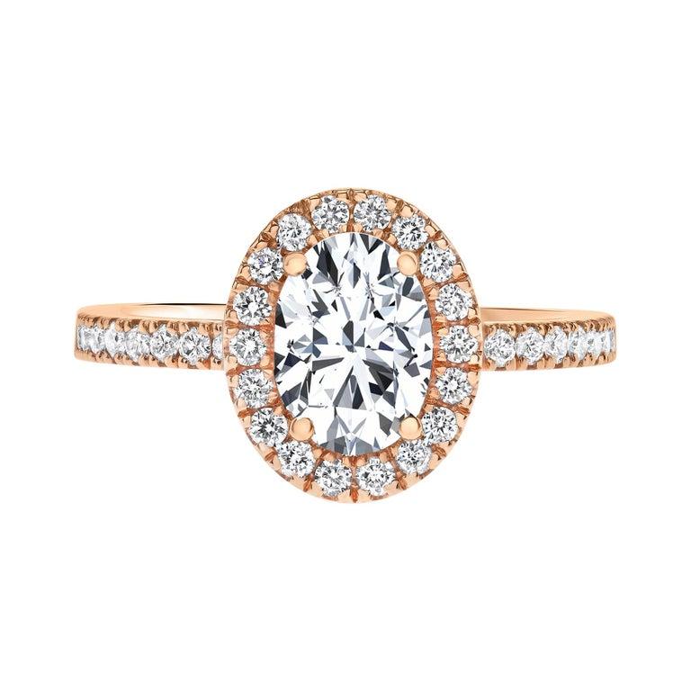 1.40 Carat EGL Certified Oval Shaped Diamond Halo Ring in 14 Karat Rose Gold For Sale