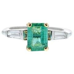 1.40 Carat Emerald and Baguette Diamond Ring in 14 Karat TT Gold