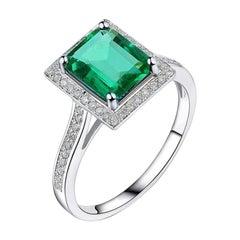 1.40 Carat Emerald Diamond Ring 14 Karat White Gold