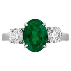 1.40 Carat Emerald Diamond Three-Stone Ring
