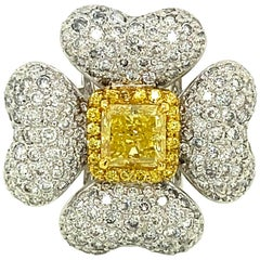 1.40 Carat GIA Certified Fancy Intense Yellow Diamond and Diamond Gold Ring
