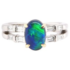 1.40 Carat Natural Black Opal and Diamond Ring Set in Platinum and 18K Gold