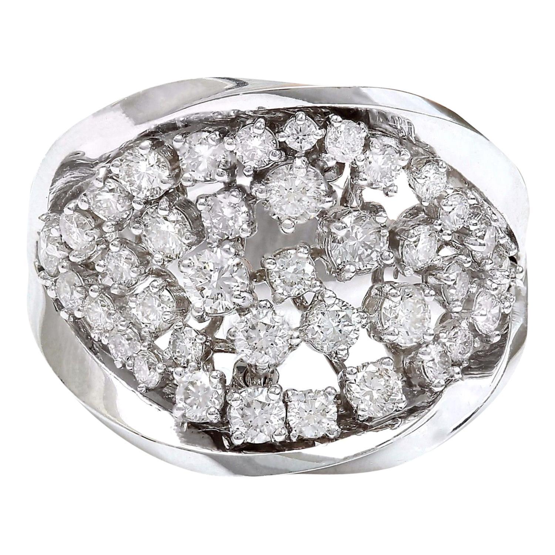 1.40 Carat Natural Diamond 18 Karat Solid White Gold Ring