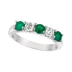 1.40 Carat Natural Diamond and Emerald Ring Band 14 Karat White Gold