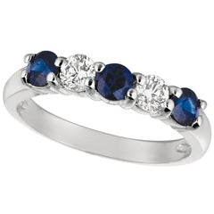 1.40 Carat Natural Diamond and Sapphire Ring Band 14 Karat White Gold