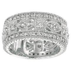 1.40 Carat Natural Diamond Eternity Byzantine Band Ring G SI 14 Karat White Gold