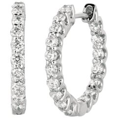 1.40 Carat Natural Diamond Hoop Earrings G SI 14 Karat White Gold