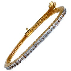 1.40 Carat Natural Diamonds Tennis Bracelet 14 Karat Gold Classic Channel Mount