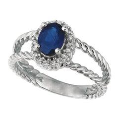 1.40 Carat Natural Oval Sapphire and Diamond Ring 14 Karat White Gold