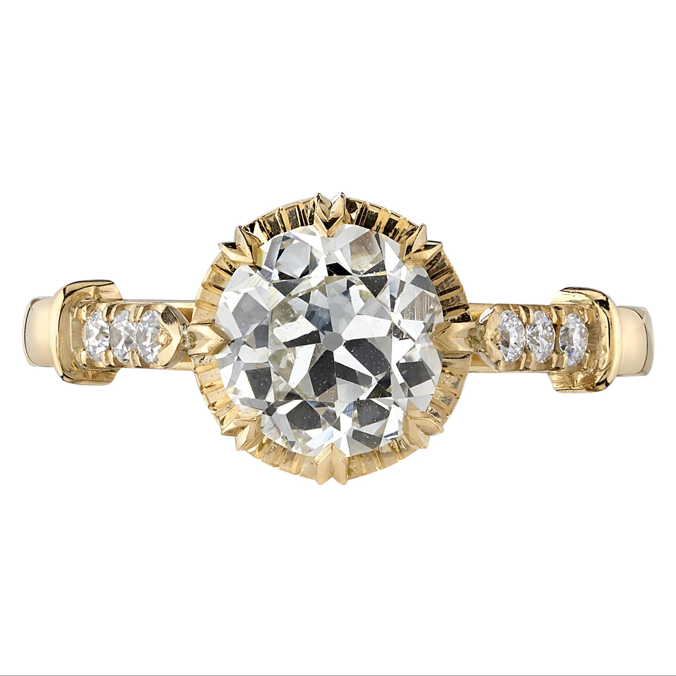 1.40 Carat Old European Cut Diamond Set in a Yellow Gold Engagement Ring
