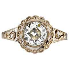 1.40 Carat Old Mine Cut Diamond Engagement Ring