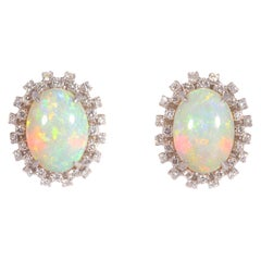14.0 Carat Opal and Diamond Earrings