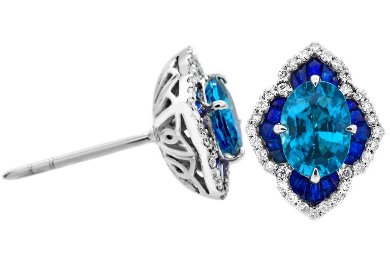 318df35eb Contemporary 1.40 Carat Oval Blue Zircon Sapphire 14Karat White Gold  Scalloped Stud Earrings For Sale