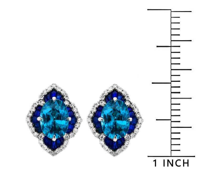 71b88caa5 1.40 Carat Oval Blue Zircon Sapphire 14Karat White Gold Scalloped Stud  Earrings In New Condition For