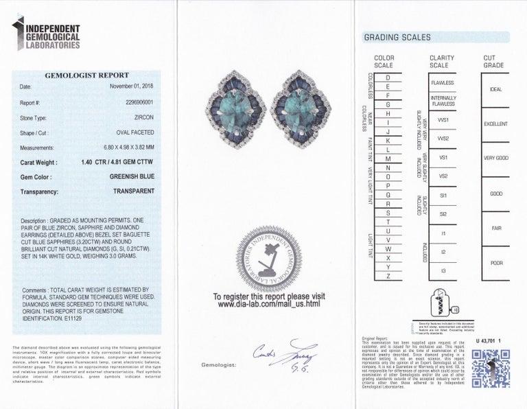 b745ab27b Women's 1.40 Carat Oval Blue Zircon Sapphire 14Karat White Gold Scalloped  Stud Earrings For Sale