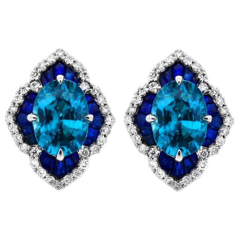 86d6cfd31 1.40 Carat Oval Blue Zircon Sapphire 14Karat White Gold Scalloped Stud  Earrings For Sale