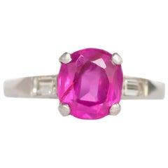 1.40 Carat Pink Sapphire Platinum Engagement Ring