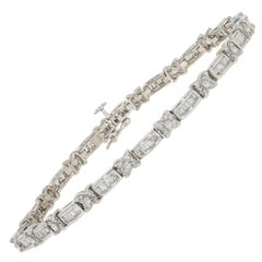 1.40 Carat Round Brilliant Diamond Bracelet, 14 Karat White Gold Floral Link