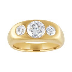 1.40 Carat Round Cut Diamond Three-Stone Gold Signet Ring