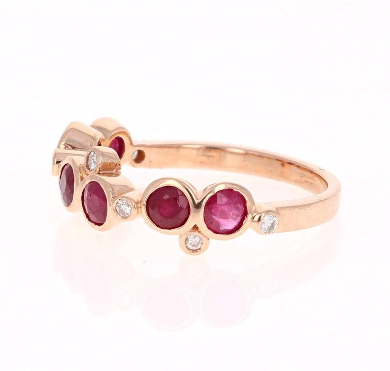 Modern 1.40 Carat Ruby Diamond 14 Karat Rose Gold Band