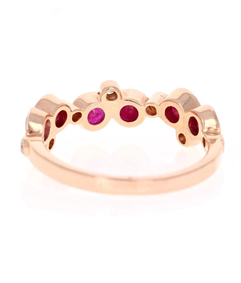 Round Cut 1.40 Carat Ruby Diamond 14 Karat Rose Gold Band
